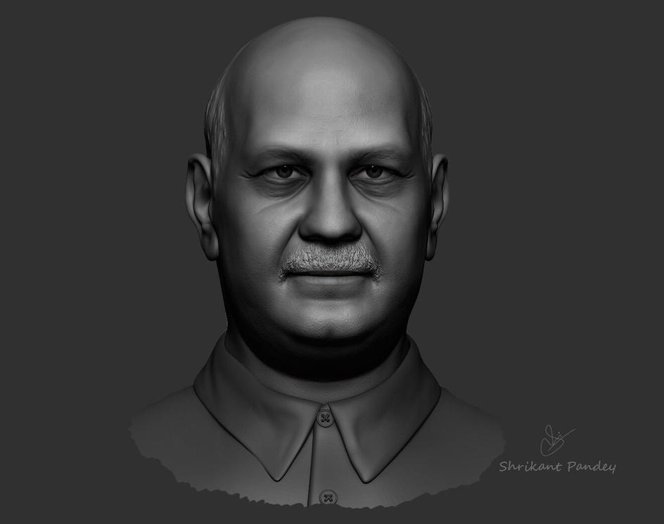 Manish Sisodia -  quick sculpt for a clientby Shrikant Pandey