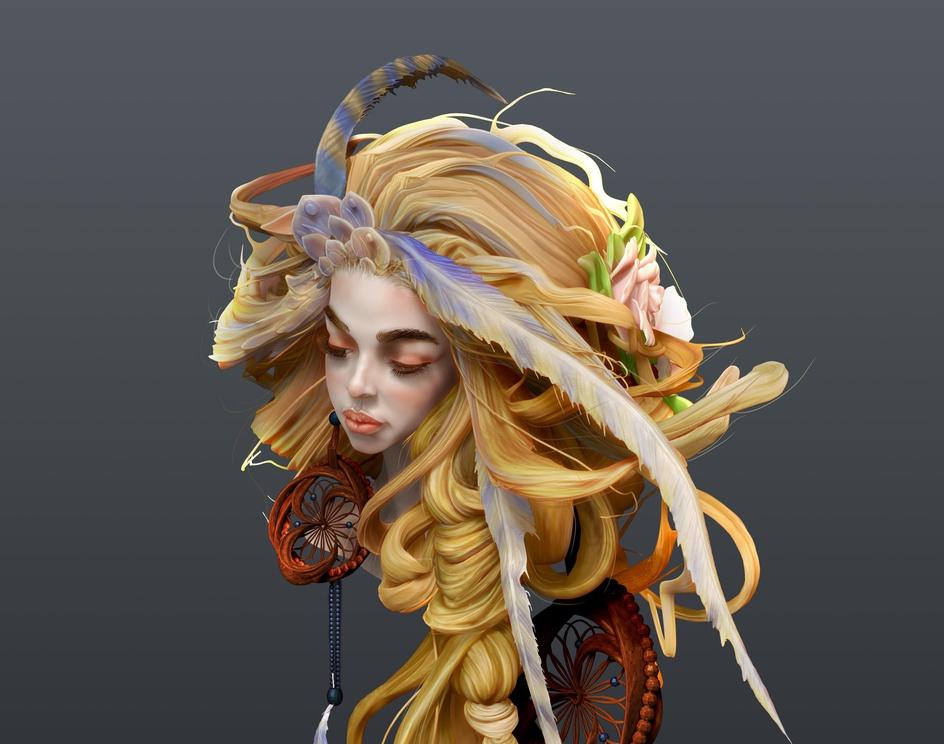 Braid Girl sculptby Kallesh Thippeswamy