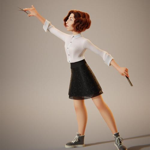 hair dresser, woman, pose