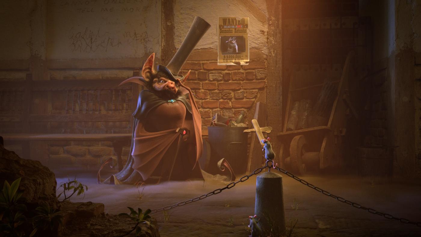 dark alleyway 3d scene render model magician rat