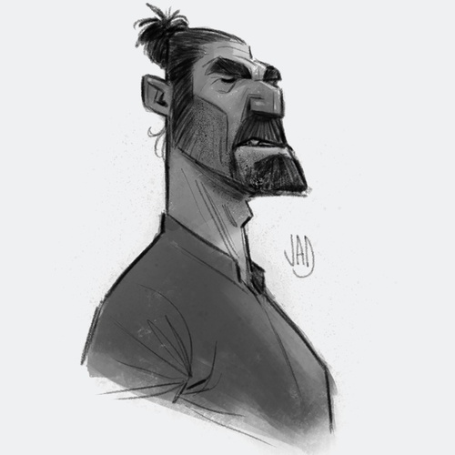 bearded male character illustration sketch