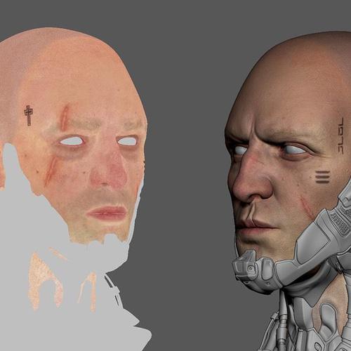 Cyberpunk 2077 3d male fanart painting