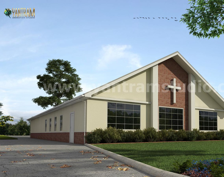 Small Church Architectural Building of Exterior Rendering Services by architectural and design services, Giza - Egyptby Ruturaj Desai