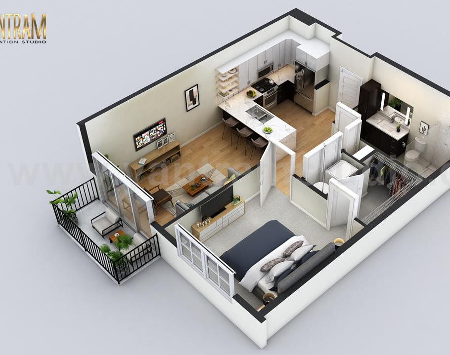 Small Residential Apartment 3d floor plan by architectural design studio, San Diego, Californiaby Ruturaj desai