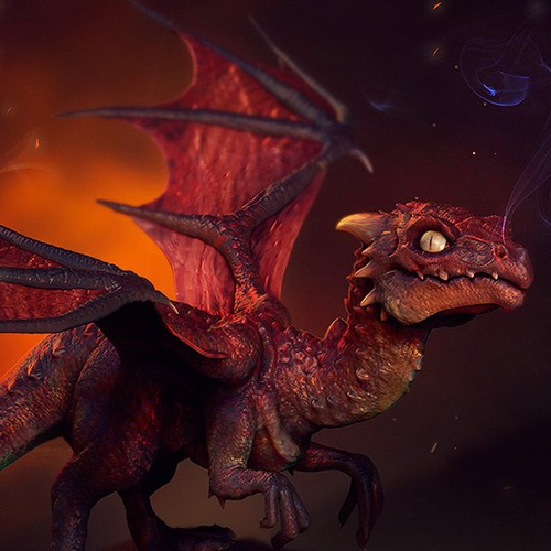colour red dragon reptilian creature design render 3d sculpt