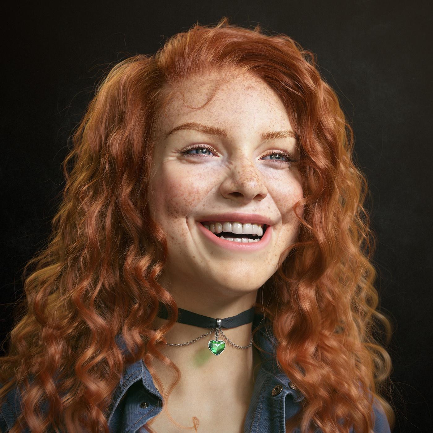 red head girl model render woman smile 3d