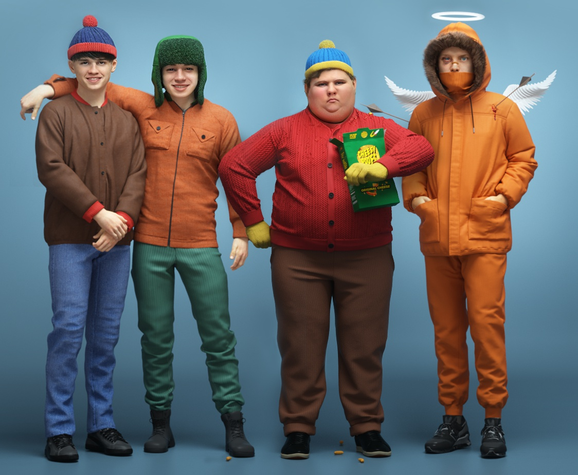 south park characters render cartoon reimagined 3d
