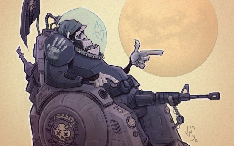space monkey in wheelchair illustration