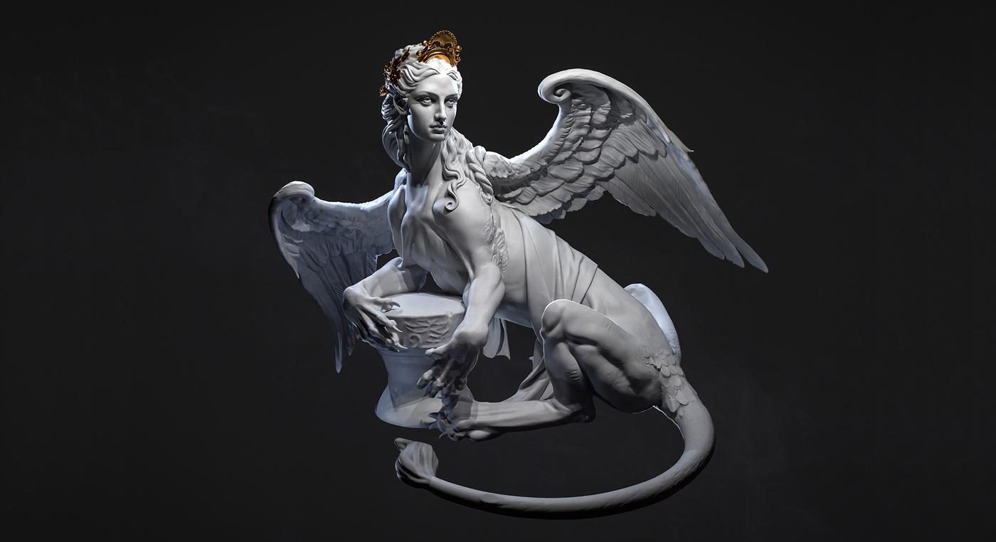 sphinx sirens female bird creature design sculpt render 3d
