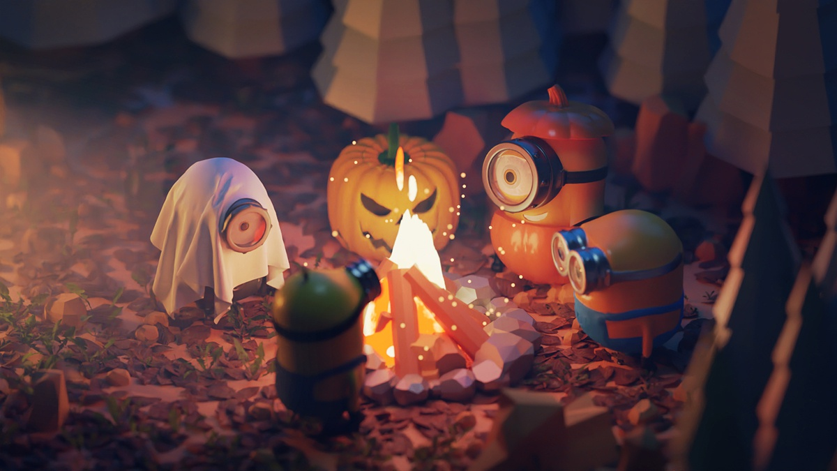 halloween minions 3d design