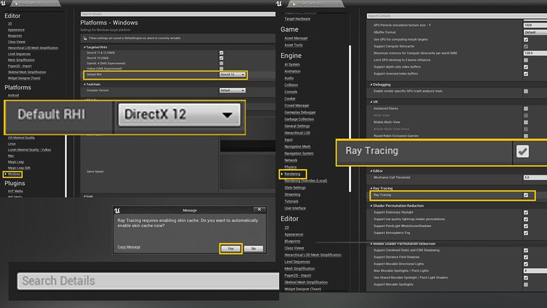 Settings to enable Ray Tracing in Unreal