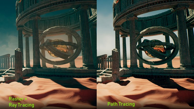 path tracing compared to the default rasterization