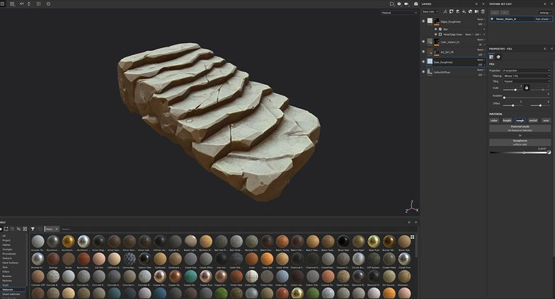 stone stairs low-poly texturing