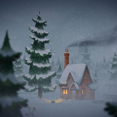 snowy winter storm illustration 2d scenery