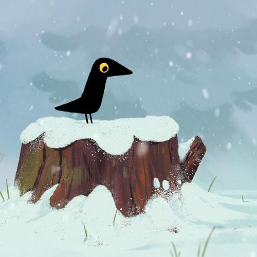 bird crow snow creature design 2d illustration