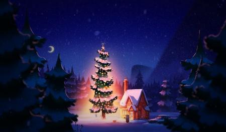 night sky 2d illustration christmas warm scenery