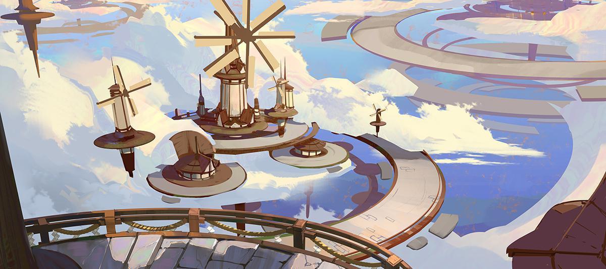 windmill and cloud digital design