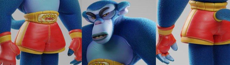 final digital design 3d render blue monkey wrestler