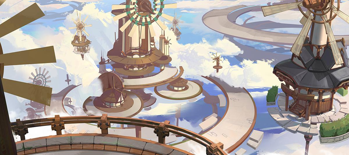 futuristic asian temple 2d illustration