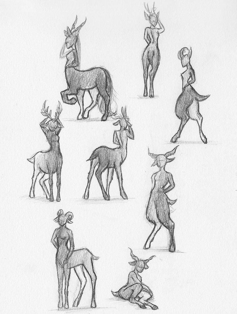 drawing, sketch, faun, deer, cervitaur
