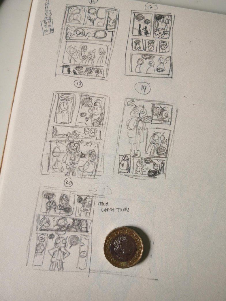 thumbnail comic page sketching