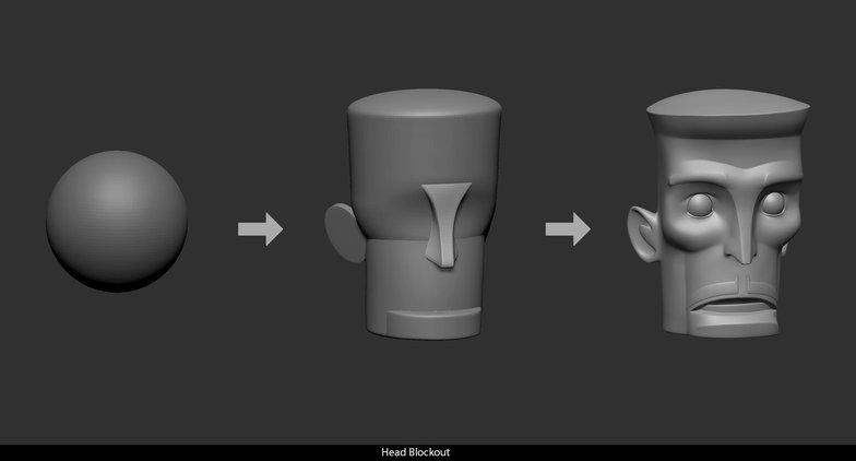 head blockout shape form render model 3d character design