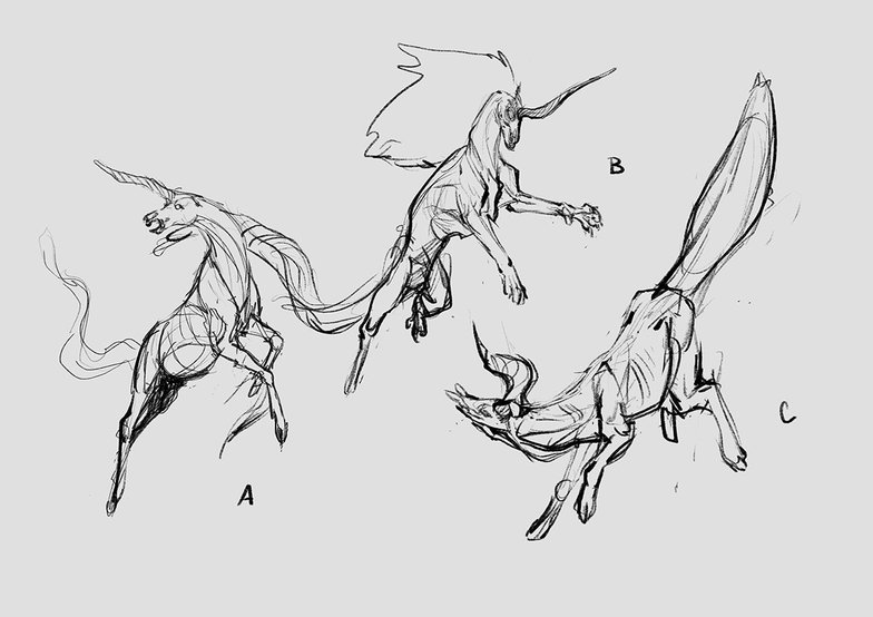 thumbnail drawings of unicorn