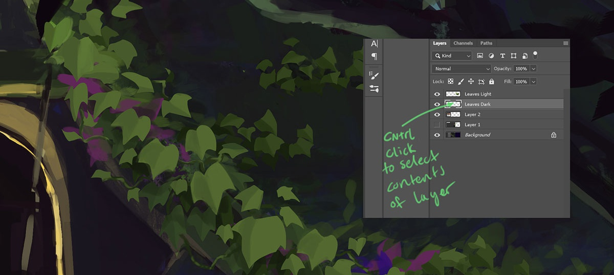 creating layers in digital are foliage