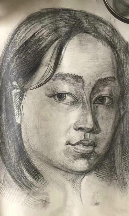 sketch pencil portrait head 2d illustration art