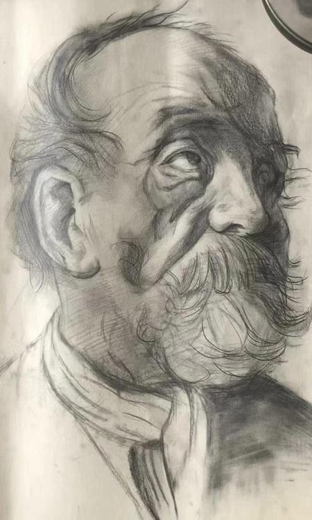 sketch pencil portrait head 2d illustration art male beard