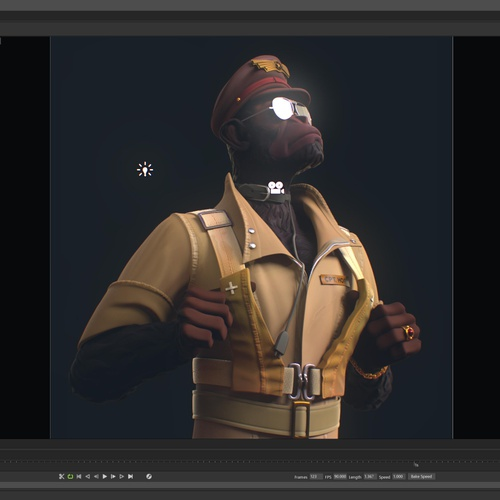 monkey character design 3d model render   settings aviator