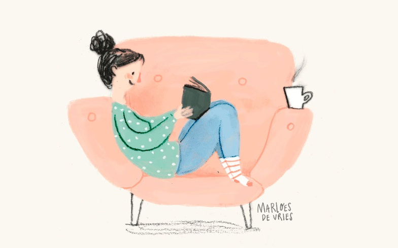 tea, reading, book, sofa, character, stylized character