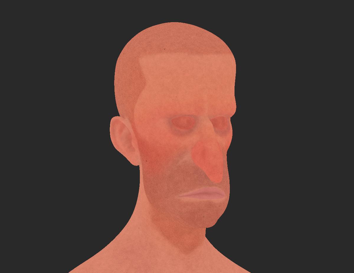 simple base male model render texture
