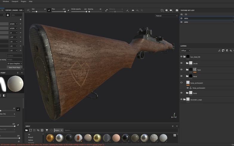 gun rifle sculpting rendering texturing