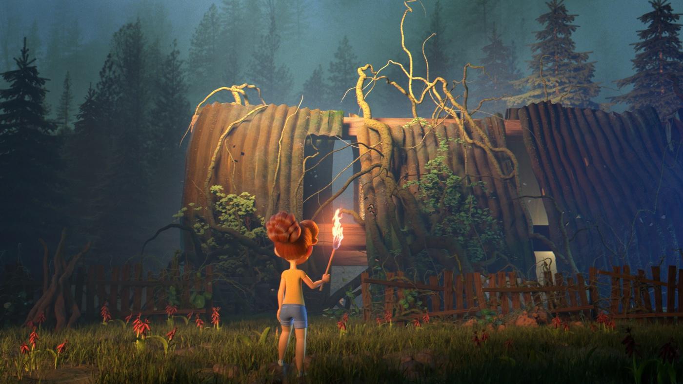 female character model 3d render scenery