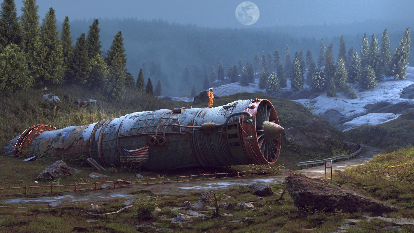 space ship wreck astronaut 3d model scenery