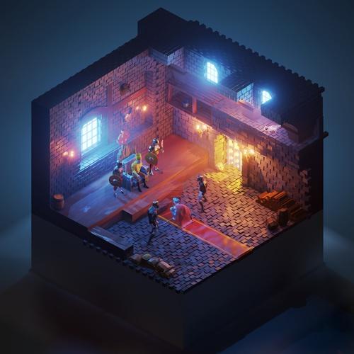 dnd low poly blender dungeon design
