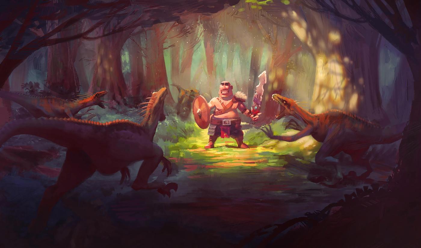 reptile raptors 2d illustration