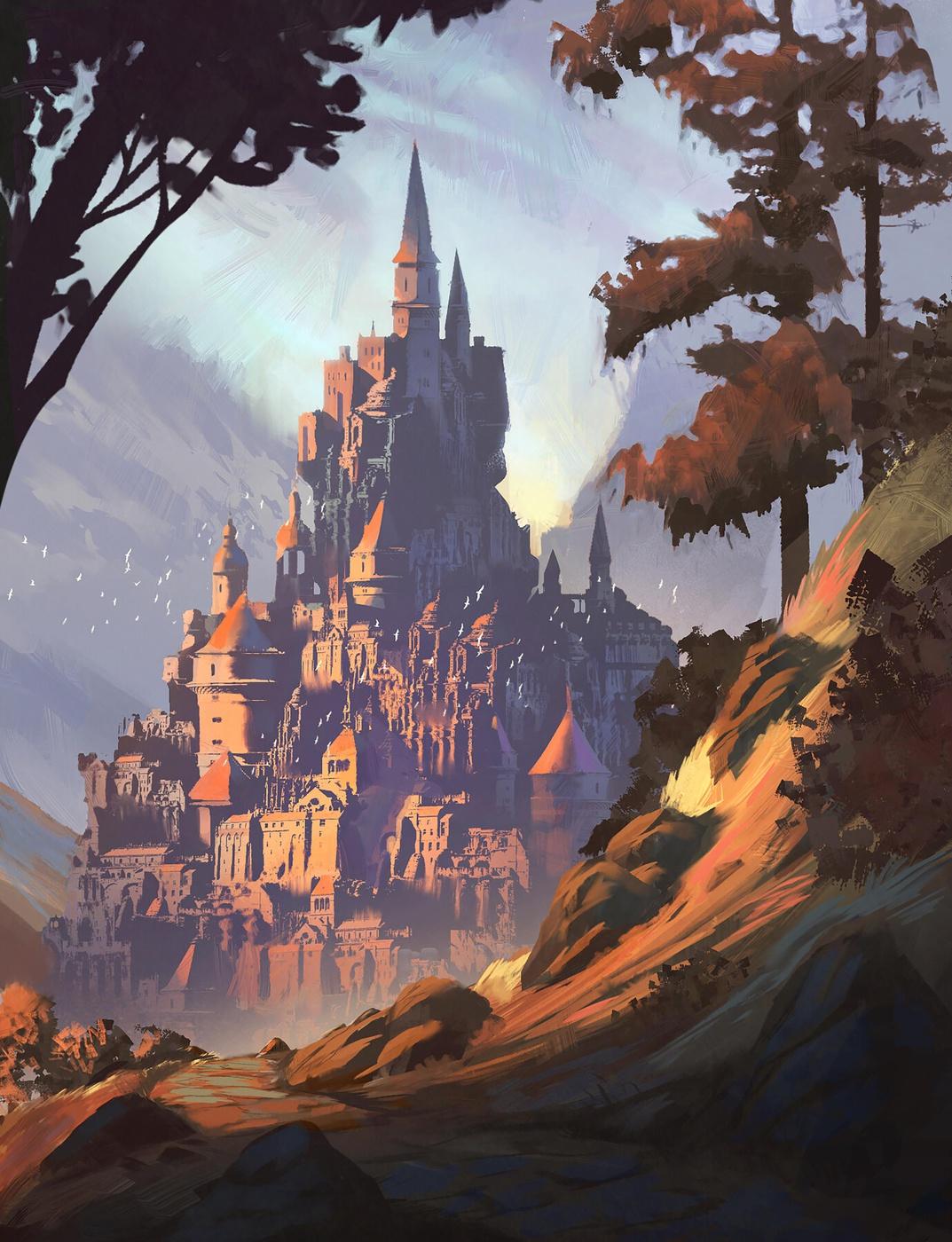 wealthy city castle environment sketch draw