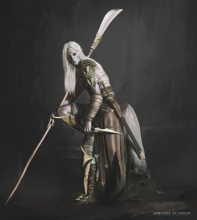 Dark elf with weapon