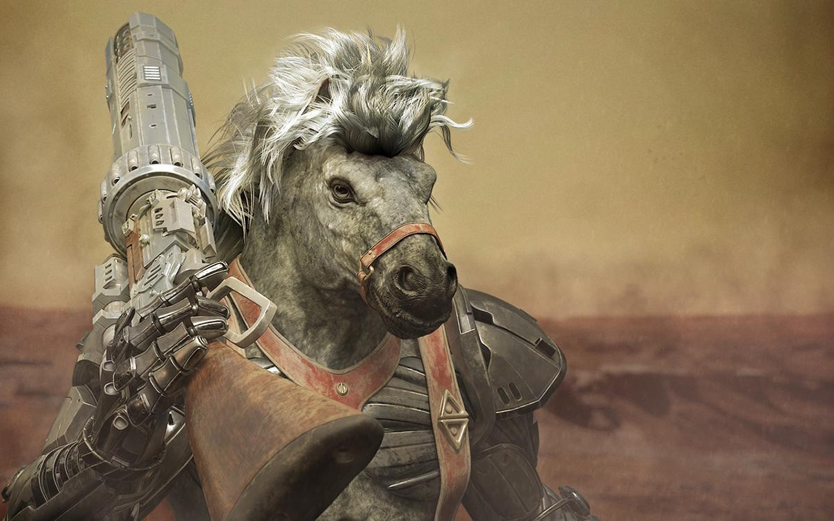 horse holding gun