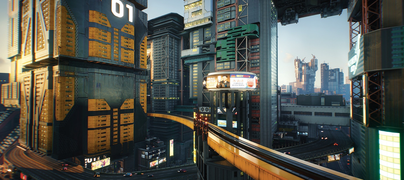 cyberpunk 2077 game cinematic sci-fi 3d shot graphics city
