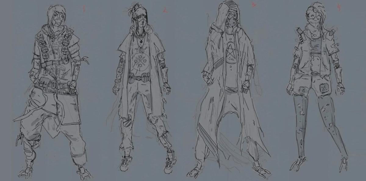 cyberpunk character design sheet