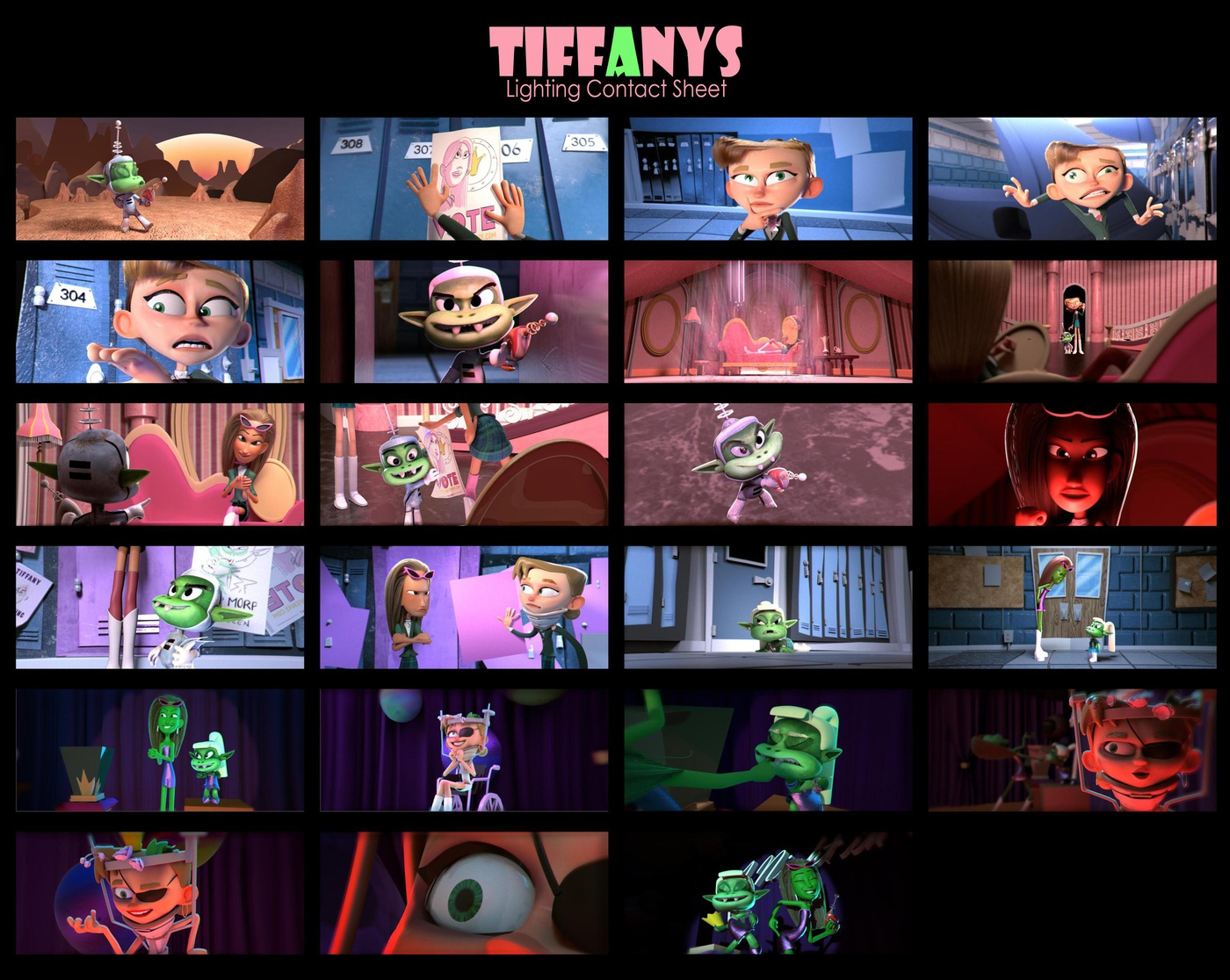 storyboarding contact sheet thesis lighting tifanny's