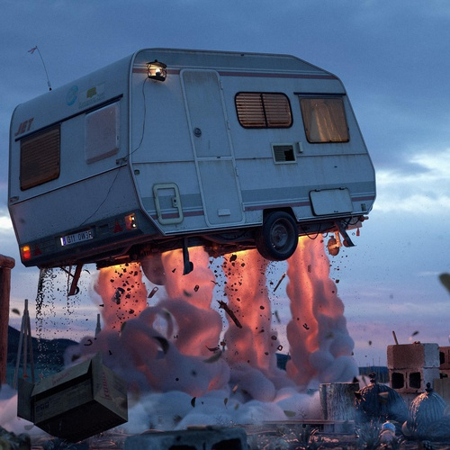 caravan exploding render model environment design vehicle