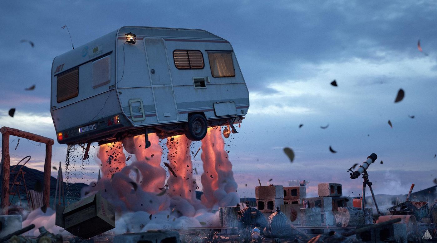 caravan explosion 3d scenery