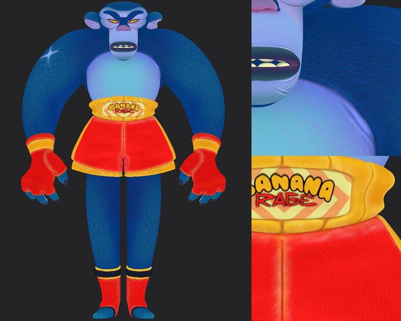 color surfaces blue monkey render fighter character design