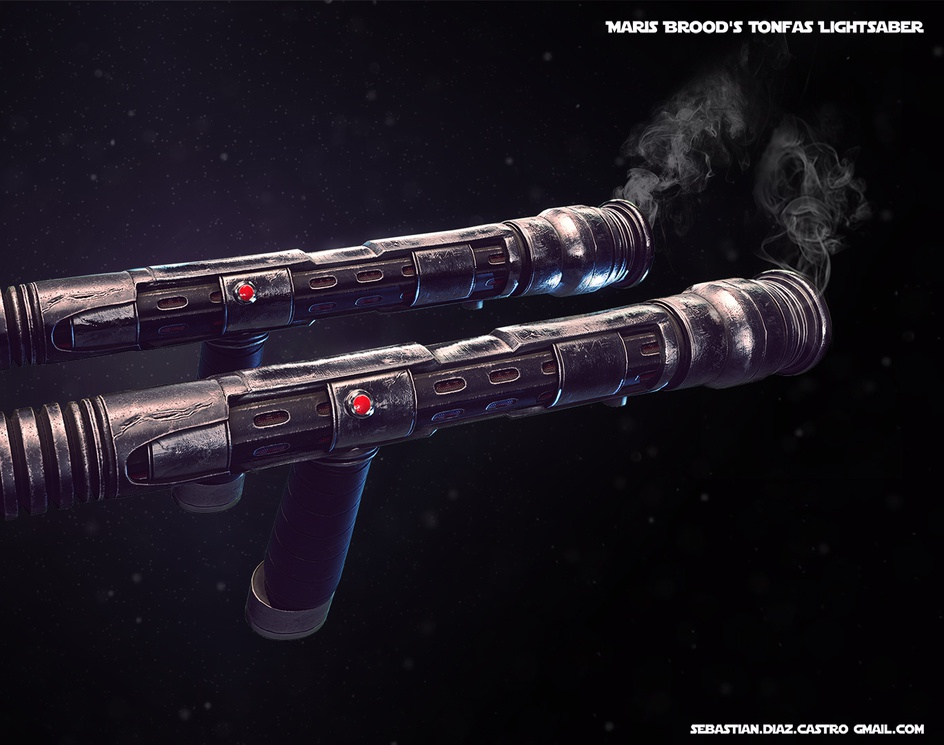 Maris Brood's Tonfas Lightsaber Star Wars: The Force Unleashedby Sebastián Díaz Castro