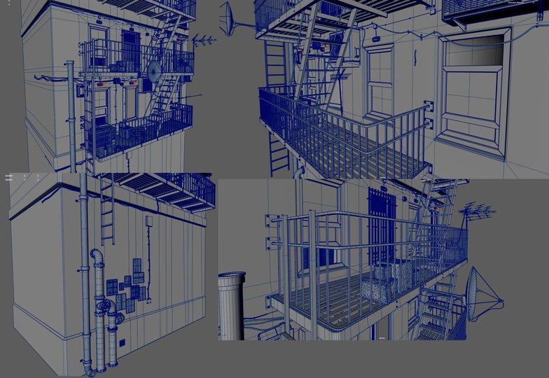 modeling metallic stairwell model render cityscape environment