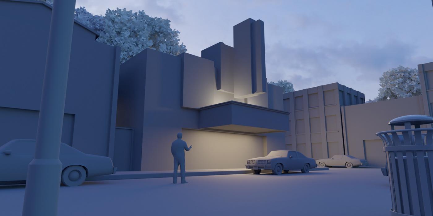 3d model scenery town basic shapes blender